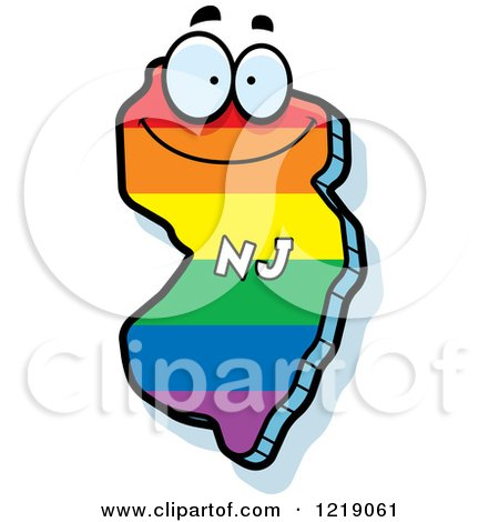 Clipart of a Gay Rainbow State of New Jersey Character - Royalty Free Vector Illustration by Cory Thoman