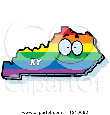 Clipart of a Gay Rainbow State of Kentucky Character - Royalty Free Vector Illustration by Cory Thoman