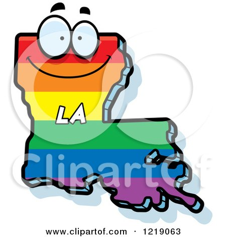 Clipart of a Gay Rainbow State of Louisiana Character - Royalty Free Vector Illustration by Cory Thoman