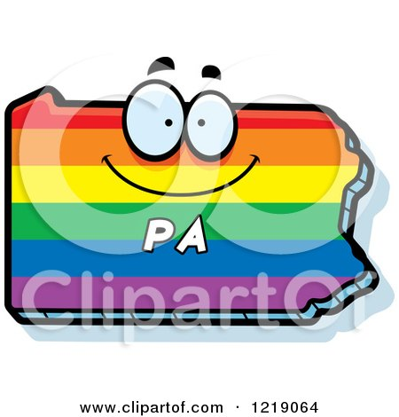 Clipart of a Gay Rainbow State of Pennsylvania Character - Royalty Free Vector Illustration by Cory Thoman