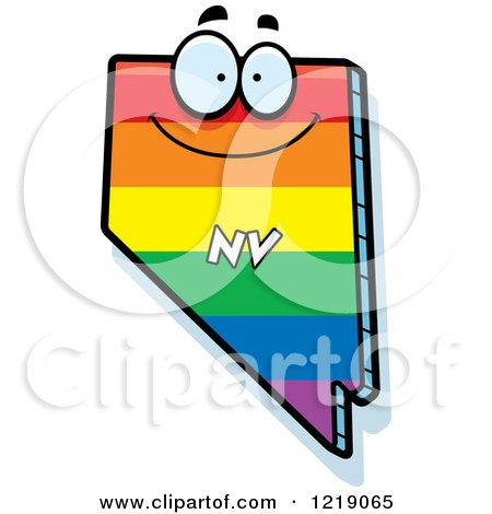 Clipart of a Gay Rainbow State of Nevada Character - Royalty Free Vector Illustration by Cory Thoman