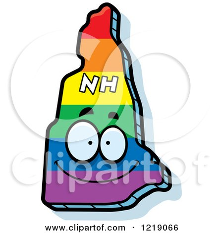 Clipart of a Gay Rainbow State of New Hampshire Character - Royalty Free Vector Illustration by Cory Thoman