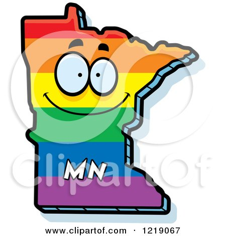 Clipart of a Gay Rainbow State of Minnesota Character - Royalty Free Vector Illustration by Cory Thoman