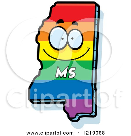 Clipart of a Gay Rainbow State of Mississippi Character - Royalty Free Vector Illustration by Cory Thoman