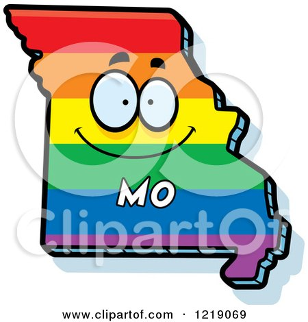Clipart of a Gay Rainbow State of Missouri Character - Royalty Free Vector Illustration by Cory Thoman