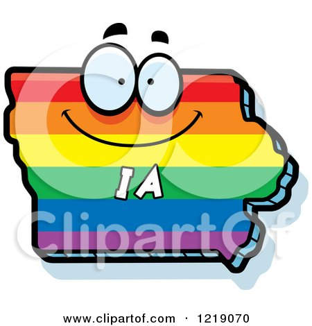 Clipart of a Gay Rainbow State of Iowa Character - Royalty Free Vector Illustration by Cory Thoman