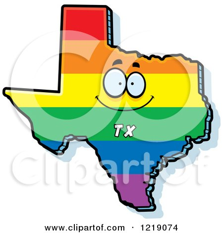 Clipart of a Gay Rainbow State of Texas Character - Royalty Free Vector Illustration by Cory Thoman