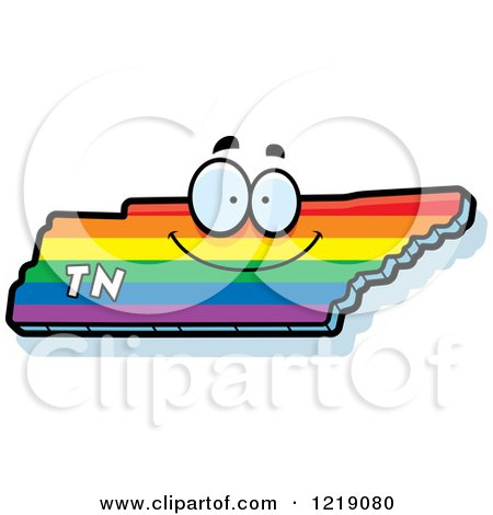 Clipart of a Gay Rainbow State of Tennessee Character - Royalty Free Vector Illustration by Cory Thoman