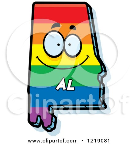 Clipart of a Gay Rainbow State of Alabama Character - Royalty Free Vector Illustration by Cory Thoman