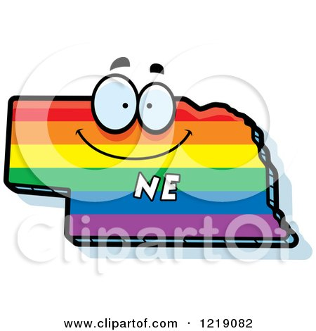 Clipart of a Gay Rainbow State of Nebraska Character - Royalty Free Vector Illustration by Cory Thoman