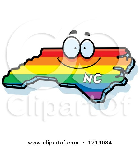 Clipart of a Gay Rainbow State of North Carolina Character - Royalty Free Vector Illustration by Cory Thoman