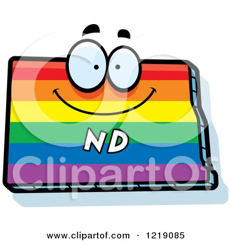 Clipart of a Gay Rainbow State of North Dakota Character - Royalty Free Vector Illustration by Cory Thoman