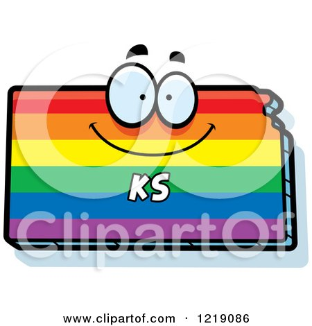 Clipart of a Gay Rainbow State of Kansas Character - Royalty Free Vector Illustration by Cory Thoman