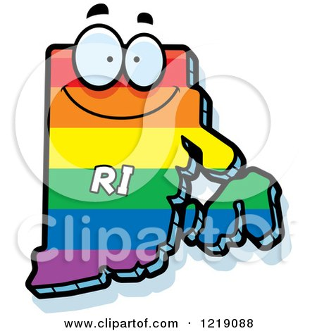 Clipart of a Gay Rainbow State of Rhode Island Character - Royalty Free Vector Illustration by Cory Thoman