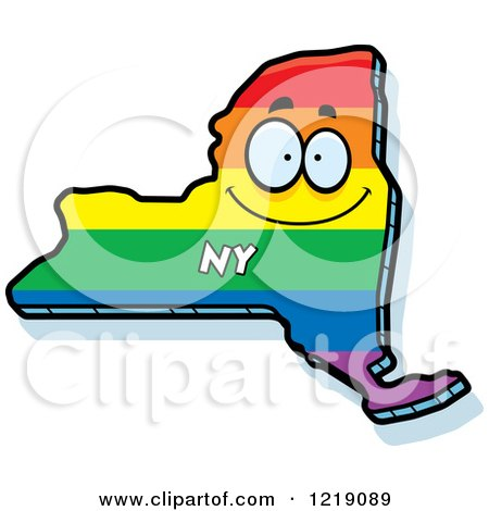 Clipart of a Gay Rainbow State of New York Character - Royalty Free Vector Illustration by Cory Thoman