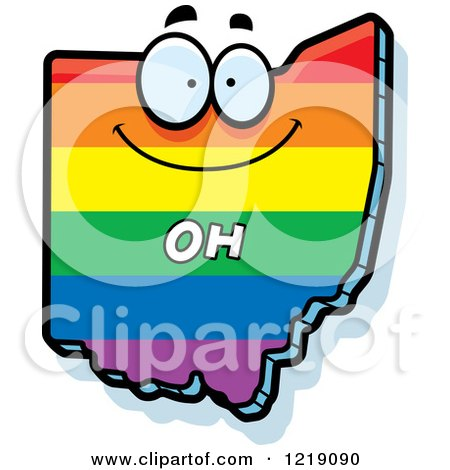 Clipart of a Gay Rainbow State of Ohio Character - Royalty Free Vector Illustration by Cory Thoman
