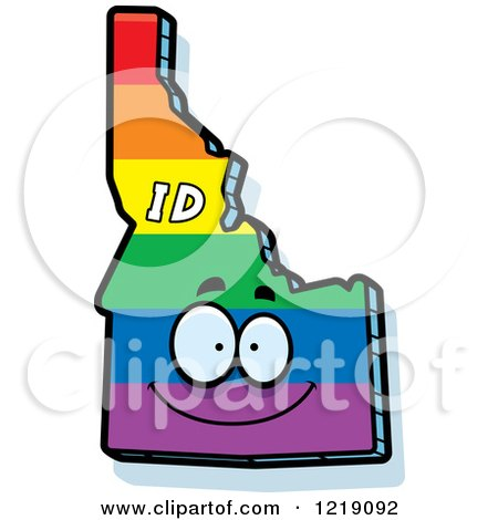 Clipart of a Gay Rainbow State of Idaho Character - Royalty Free Vector Illustration by Cory Thoman