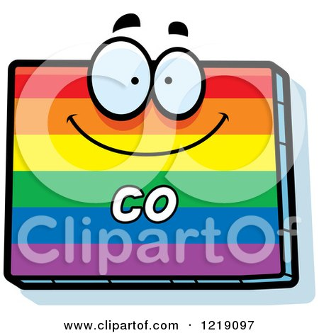 Clipart of a Gay Rainbow State of Colorado Character - Royalty Free Vector Illustration by Cory Thoman