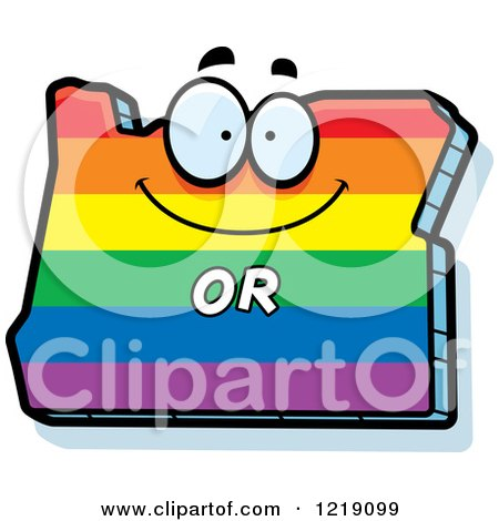 Clipart of a Gay Rainbow State of Oregon Character - Royalty Free Vector Illustration by Cory Thoman