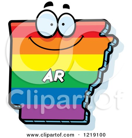 Clipart of a Gay Rainbow State of Arkansas Character - Royalty Free Vector Illustration by Cory Thoman