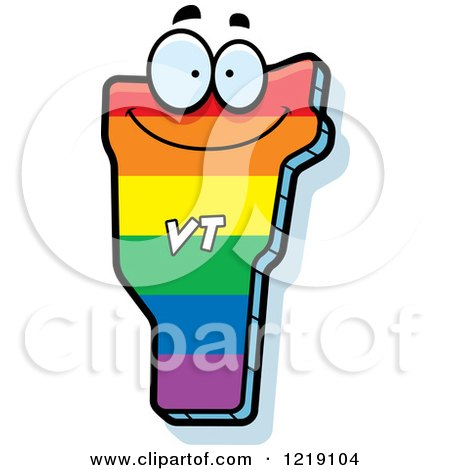 Clipart of a Gay Rainbow State of Vermont Character - Royalty Free Vector Illustration by Cory Thoman