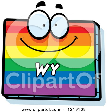 Clipart of a Gay Rainbow State of Wyoming Character - Royalty Free Vector Illustration by Cory Thoman