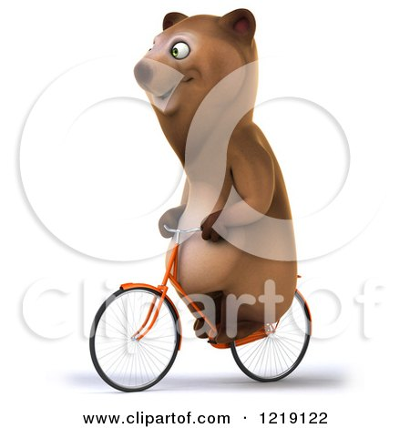 Clipart of a Happy Brown Bear Riding a Bicycle 4 - Royalty Free Illustration by Julos