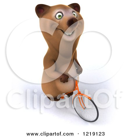 Clipart of a Happy Brown Bear Riding a Bicycle 5 - Royalty Free Illustration by Julos
