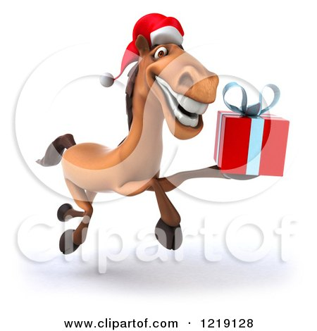 Clipart of a 3d Brown Christmas Horse Running with a Present ...
