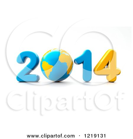 Clipart of a 3d Blue and Yellow Year 2014 with a Globe As the Zero - Royalty Free Vector Illustration by chrisroll