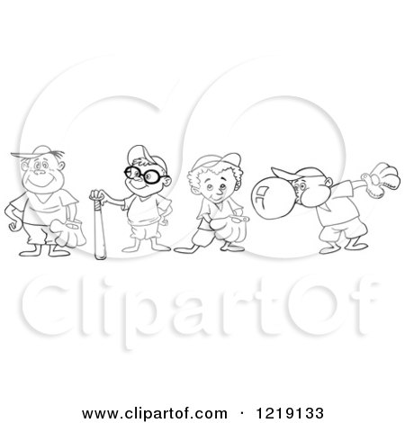 Clipart of Outlined Baseball Kids with Gloves Bats and Bubble Gum - Royalty Free Vector Illustration by LaffToon