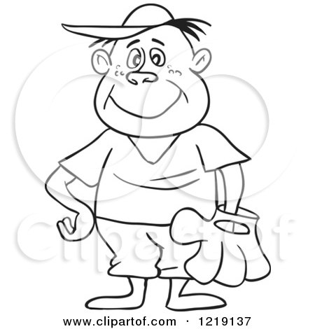 Clipart of an Outlined Happy Baseball Boy Wearing a Glove - Royalty Free Vector Illustration by LaffToon