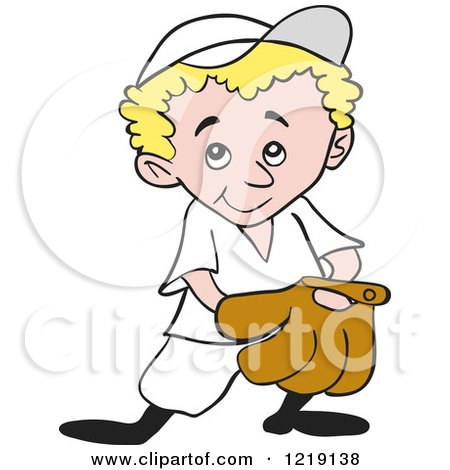 Clipart of a Blond Baseball Kid with His Hand in His Glove - Royalty Free Vector Illustration by LaffToon