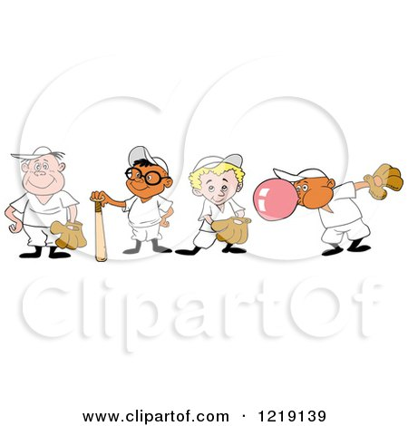 Clipart of Baseball Kids with Gloves Bats and Bubble Gum - Royalty Free Vector Illustration by LaffToon