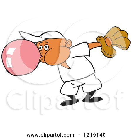 Clipart of a Black Baseball Boy Blowing Bubble Gum - Royalty Free Vector Illustration by LaffToon