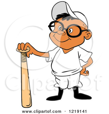 Clipart of a Black Baseball Boy Standing with a Bat - Royalty Free Vector Illustration by LaffToon