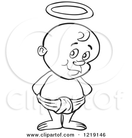 Clipart of an Outlined Toddler Boy with Devil Horns, Standing in a Diaper - Royalty Free Vector Illustration by LaffToon
