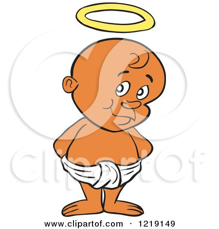 Clipart of a Black Toddler Boy with a Halo, Standing in a Diaper - Royalty Free Vector Illustration by LaffToon