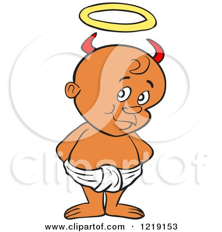 Clipart of a Black Toddler Boy with Devil Horns, Standing in a Diaper - Royalty Free Vector Illustration by LaffToon