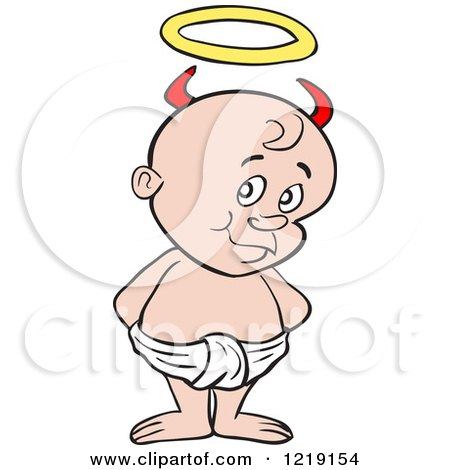 Clipart of a White Toddler Boy with Devil Horns, Standing in a Diaper - Royalty Free Vector Illustration by LaffToon