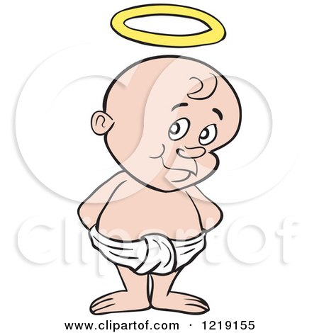 Clipart of a White Toddler Boy with a Halo, Standing in a Diaper - Royalty Free Vector Illustration by LaffToon