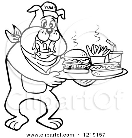 Clipart Of An Outlined Bbq Bulldog Mascot Drooling Over A Tray With