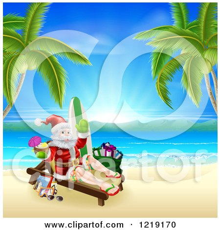 Clipart of Santa Holding a Cocktail and Sun Bathing on a Tropical Beach with Items - Royalty Free Vector Illustration by AtStockIllustration