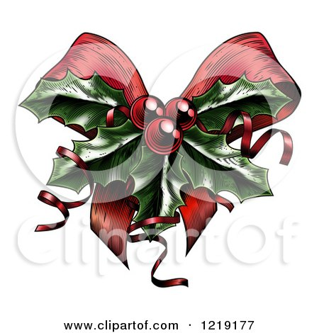 Clipart of a Vintage Woodcut Styled Christmas Bow with Holly ...