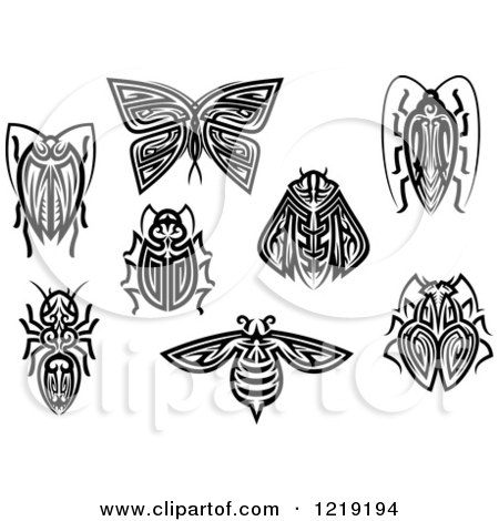 Clipart of Black and White Tribal Insects - Royalty Free Vector Illustration by Vector Tradition SM
