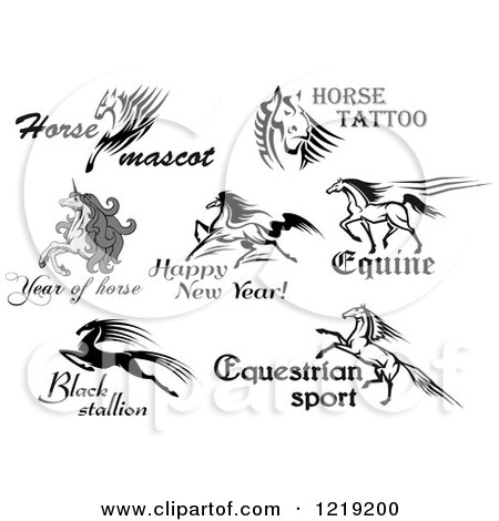 Clipart of Horses and Unicorns with Text - Royalty Free Vector Illustration by Vector Tradition SM