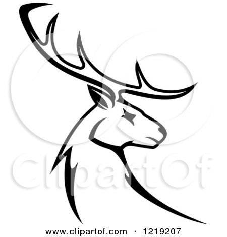 Clipart of a Black and White Deer with Antlers - Royalty Free Vector Illustration by Vector Tradition SM