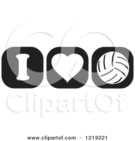Clipart of Black and White I Heart Volleyball Icons - Royalty Free Vector Illustration by Johnny Sajem
