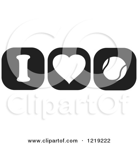 Clipart of Black and White I Heart Tennis Icons - Royalty Free Vector Illustration by Johnny Sajem