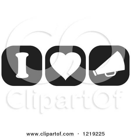 Clipart of Black and White I Heart Cheerleading Icons - Royalty Free Vector Illustration by Johnny Sajem